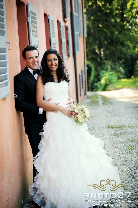 outdoor country wedding ceremony in Piemonte Italy