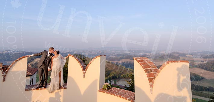 A Medieval Castle, a romantic Ceremony and a thousand fairy lights for an outdoor reception overlooking Piemonte hills