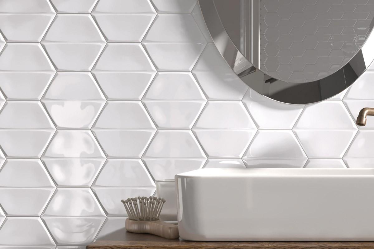 smooth hexagonal tiles bright white
