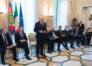 Il Presidente Giorgio Napolitano incontra il Consiglio Direttivo della Banca Centrale Europea. Napoli 1/10/2014. Foto: Presidenza della Repubblica