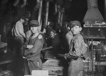 Child laborers in an Indiana glass works. Trade unions have an objective interest in combating child labor.