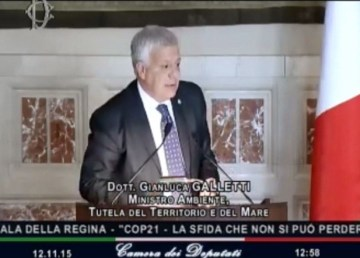 Il ministro dell'ambiente Gianluca Galletti. Fonte: Webtv Camera