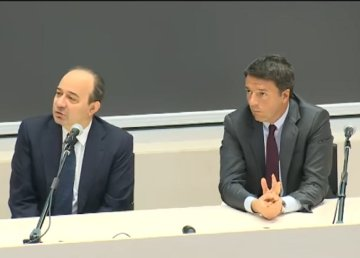 Renzi all'Università Cattolica il 14/11/2016. Fermo immagine del suo intervento
