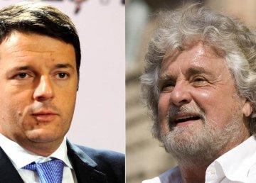 Matteo Renzi (foto di PSD Romania - CC BY-SA 2.0)/Beppe Grillo (Foto di Giuseppe Favia - CC BY-SA 2.0)
