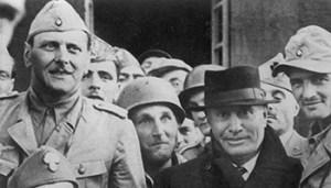 olycom - mussolini gran sasso - 12 SETTEMBRE 1943 CAMPO IMPERATORE (GRAN SASSO) - LIBERAZIONE DI BENITO MUSSOLINI AD OPERA DELL' UFFICIALE OTTO SKORZENY (A SIN.), DITTATORE, DUCE, FASCISTA, FASCISMO, CAPPELLO, SOLDATI, SECONDA GUERRA MONDIALE, ANNI 40, WWII, 710939/63