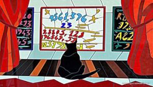 opera grafica di Nespolo , dal mio salotto, io la chiamo io e la matematica, mi esprime !