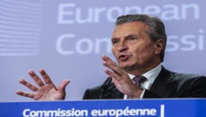 epa06838495 EU Commissioner for Budget German Guenther Oettinger gives a press conference on the next EU budget in Brussels, Belgium, 25 June 2018. The European commission will present the next long-term budget for the EU â the Multiannual Financial Framework or 'MFF' - after 2020 and Brexit, ahead of the June European leaders Council. EPA/OLIVIER HOSLET