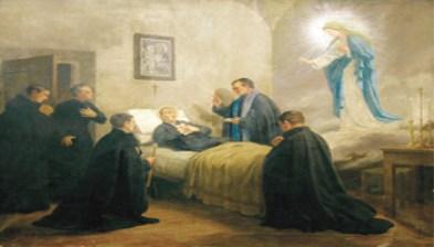 Morte di San Gabriele, dipinto nella cameretta del transito - 350X200