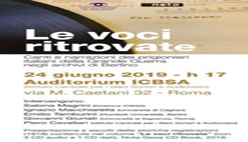 """Presentazione del volume """"Le voci ritrovate"""". Auditorium ICBSA"""