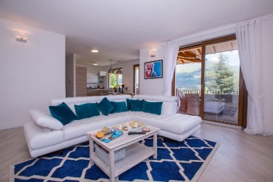 Living room with sofa and access to the lake view terrace