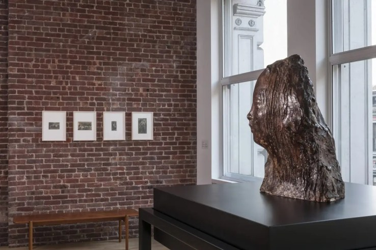 View of Medardo Rosso at CIMA, with Ecce Puer (Behold the Child) (plaster, from Museo Medardo Rosso) at right and drawings in distance. Photo by Walter Smalling Jr.