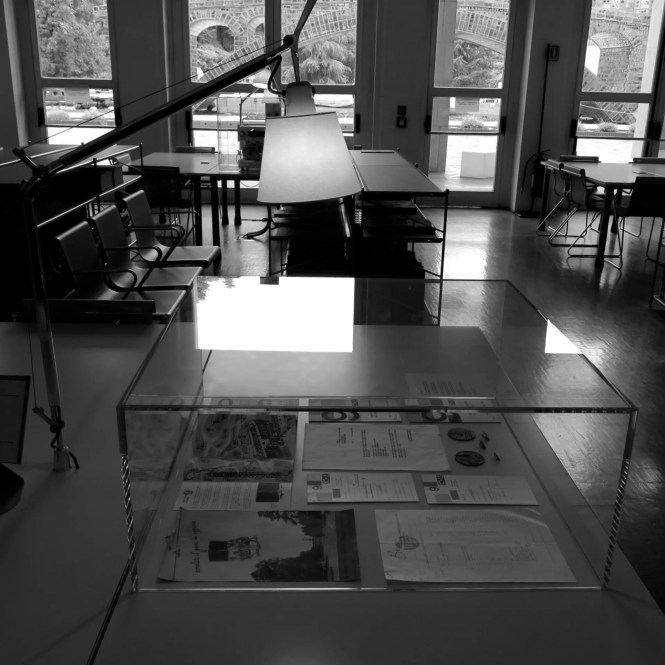 Library exhibition displays (detail), Biblioteca del Progetto, Photo by Teresa Kittler, 2015