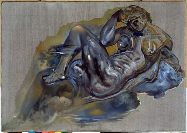 Salvador Dalí, Senza titolo. Notte dalla tomba di Giuliano de' Medici di Michelangelo, 1982, olio su tela 67 x 95 cm. Figueres, Fundació Gala Salvador Dalí, ©Salvador Dalí, Fundació Gala-Salvador Dalí by SIAE 2016