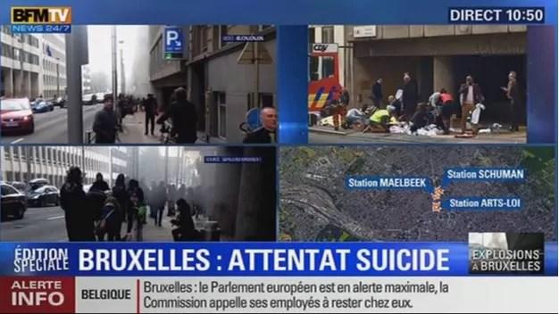 Terrorismo, Le immagini degli attentati a Bruxelles su Bfmtv