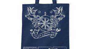 """Lo shopper di cotone distribuito dall'associazione Oceanus a Marettimo per la camagna """"No alle buste di plastica"""""""