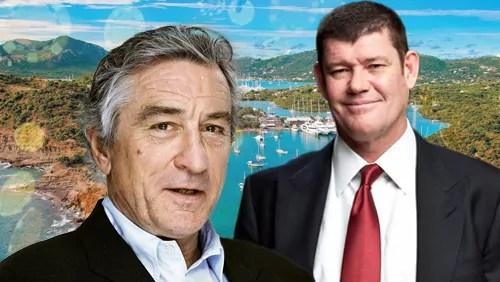 L'attore Robert De Niro e il miliardario australiano James Packer, soci in un investimento immobiliare ad Antigua.