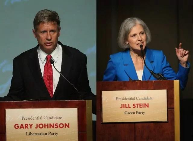 Jill Stein (Verdi) e Gary Johnson (Partito Libertario) sono i due outsider delle elezioni presidenziali Usa 2016 contro i due giganti Trump e Clinton.