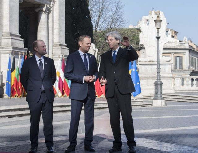 #Eu60 Muscat Tusk e Gentiloni accolgono leader Eu