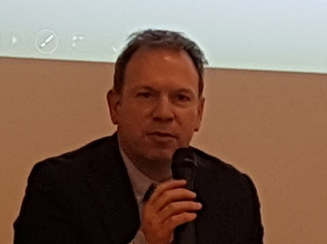 Marco Leonardi, consigliere economico della Presidenza del Consiglio dei ministri alla tavola rotonda sul futuro delle profesisoni del Colap (ph. In24/P. Nigro).
