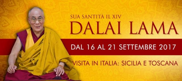 Dalai Lama visita Toscana Sicilia Pisa Firenze Taormina Palermo Messina