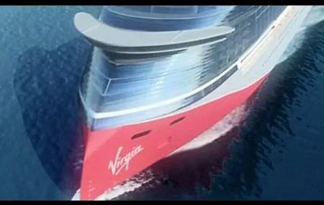 La prima delle tre navi ca crociera Virgin Voyages in costruzione nei cantieri Finmeccanica di Sestri Ponente.