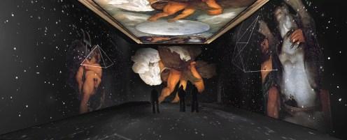 Il render di Giove, Nettuno e Plutone, nel Gabinetto alchemico del Casino dell'Aurora.