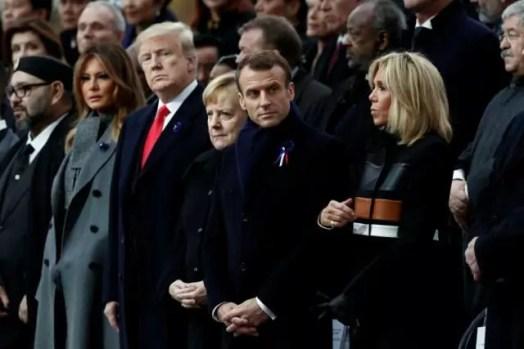 Parigi, i leader mondiali assistono alla cerimonia per i 100 anni della firma dell'armistizio della Prima guerra mondiale.