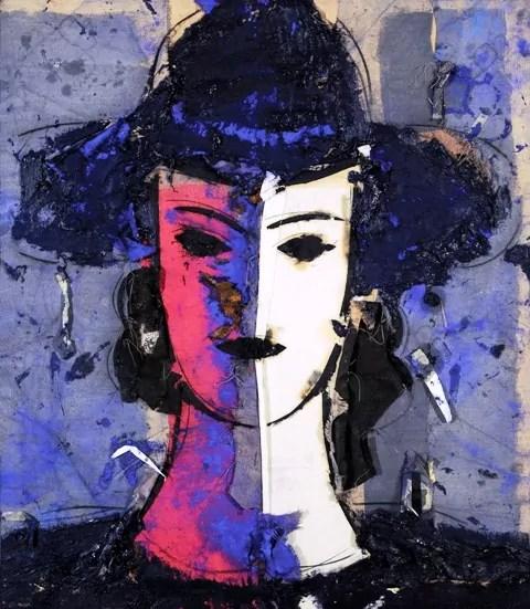 Manolo Valdés, Rostro tricolor sobre fondo gris. 2006, olio su tela di juta, cm 172 x 151 Galleria d'Arte Contini ©Manolo Valdés by SIAE 2020