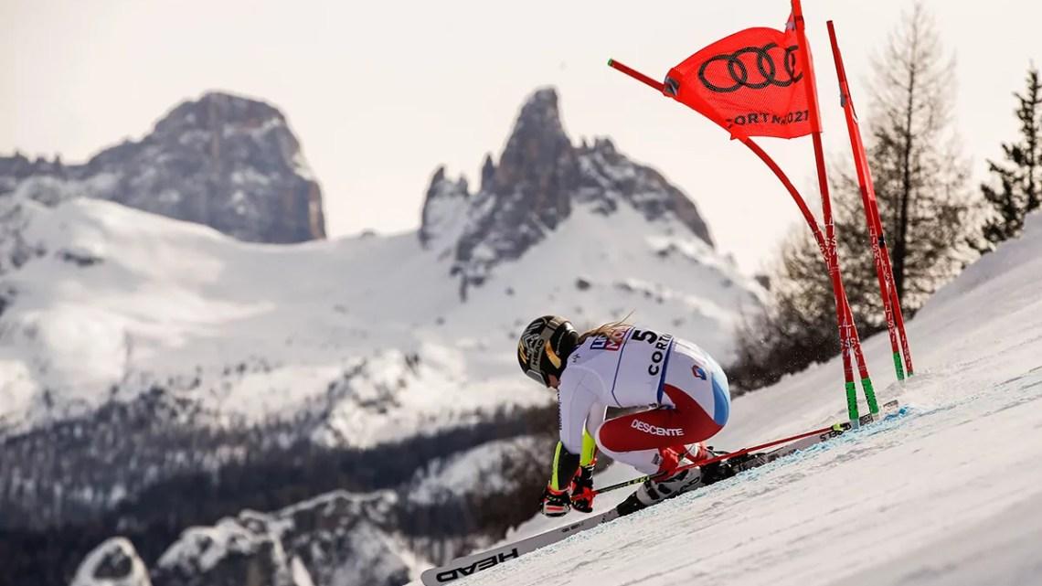 Cortina 2021 Campionati mondiali di Sci alpino. Cortina d'Ampezzo 18/02/2021, Lara Gut (Svizzera), Photo: Gabriele Facciotti Pentaphoto.