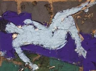 Manolo Valdés, Desnudo Azul, 1995, tecnica mista su tela di juta, cm 170 x 228. Collezione Privata. ©Manolo Valdés by SIAE 2020.