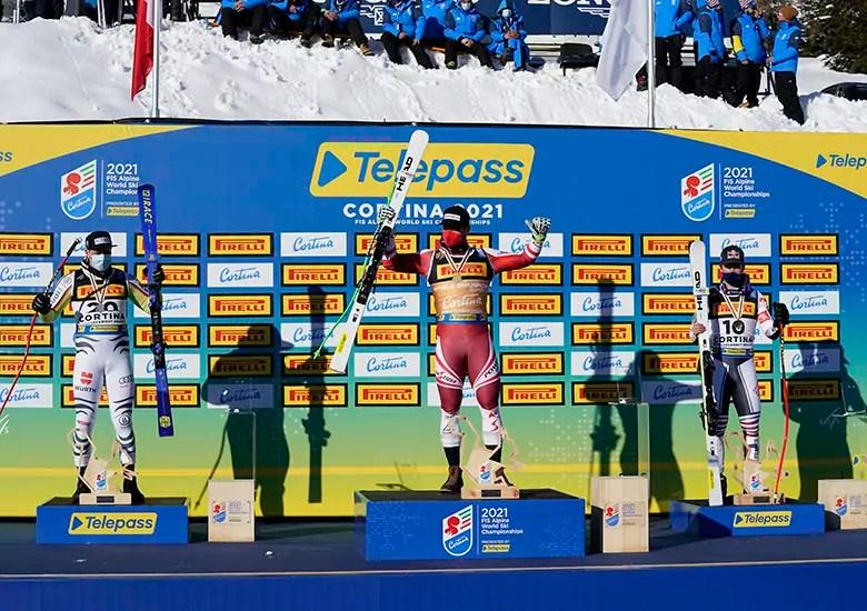 Campionati del mondo di sci alpino Cortina 2021,  Cortina d'Ampezzo 11/02/2021 Super G maschile: Romed Baumann (GER) argento, Vincent Kriechmayer (AUT) oro, Alexis Pinturault (FRA) Bronzo (Photo: Gio Auletta/Pentaphoto/Pool).