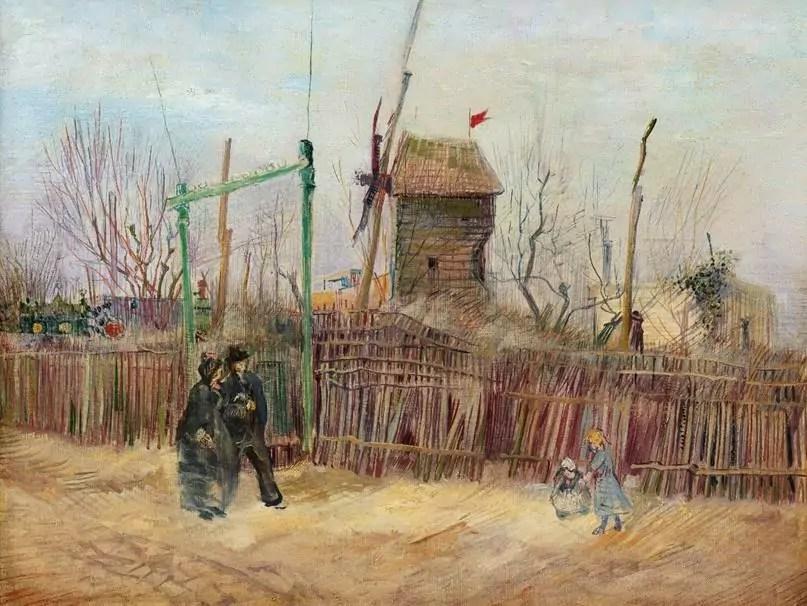 Vincent van Gogh Scène de rue à Montmartre (Impasse des deux frères et le Moulin à Poivre), 1887 olio su tela 46,1 x 61,3 cm. Collezione privata. Sotheby's e Mirabaud Mercier, Impressionist & Modern Art Sotheby's Parigi, 25 marzo 2021 - © Sotheby's ArtDigital Studio.