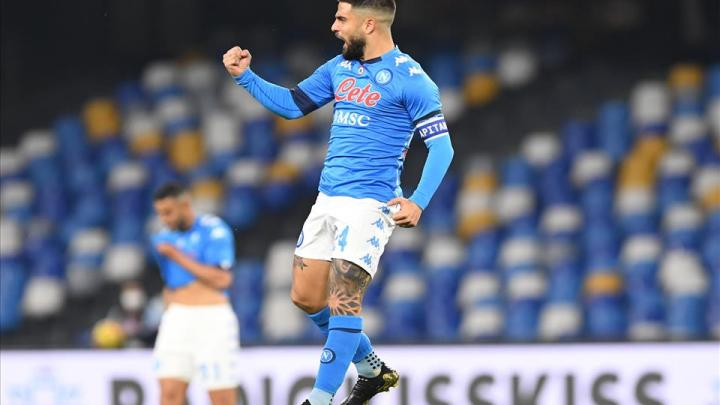 26 Giornata, Serie A: Napoli-Bologna 3-1. Insigne esulta e il Napoli torna alla vittoria. (credit Napoli Official Website Photogallery)