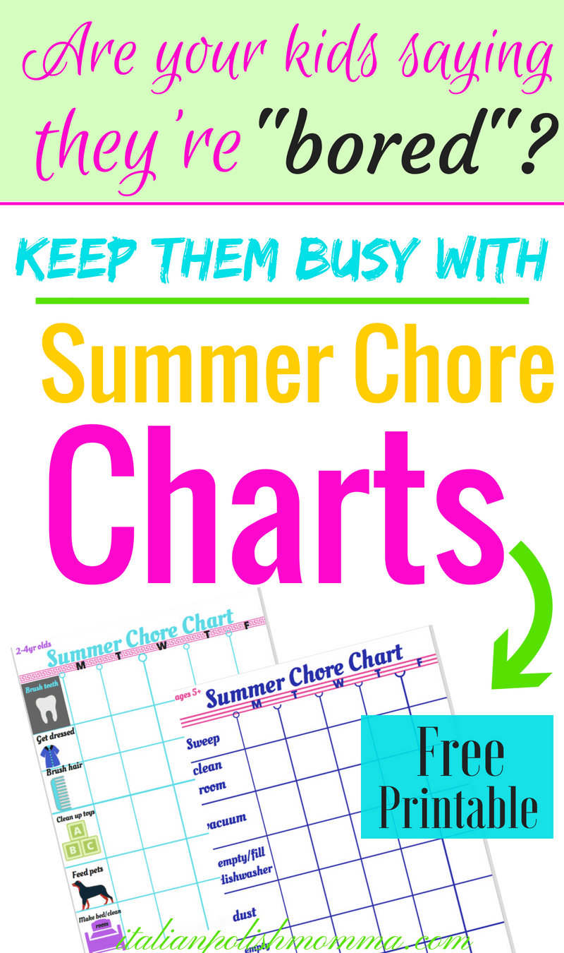 photograph relating to Summer Chore Chart Printable known as Absolutely free Chore Chart Printables For Small children -