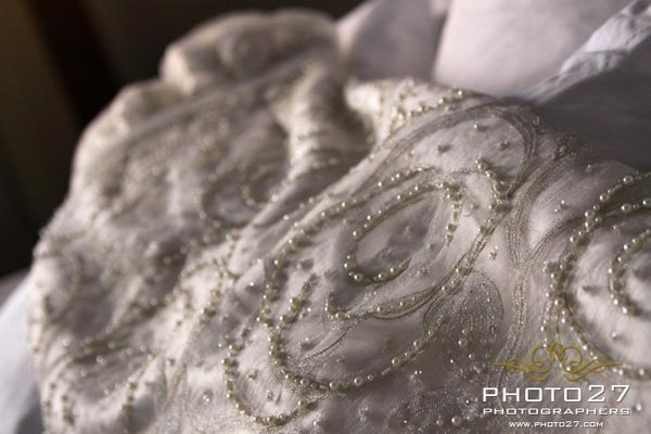 wedding dress with decorated with pearl and Swarowsky