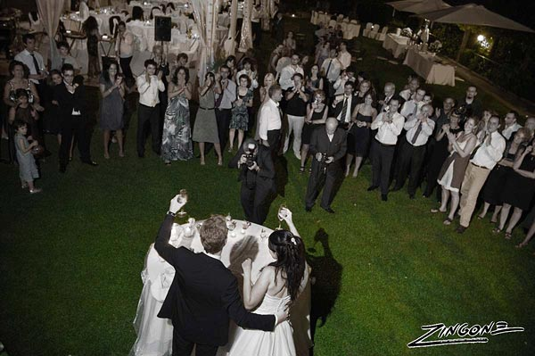 outdoor wedding reception in Rome