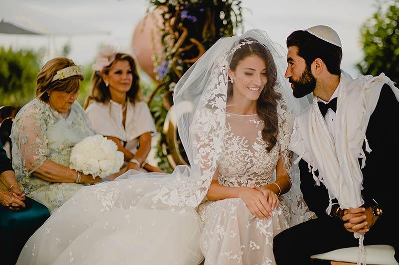 Jewish wedding ceremony at Villa Miani