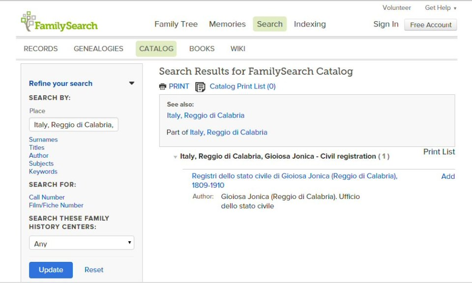 Family Search Results
