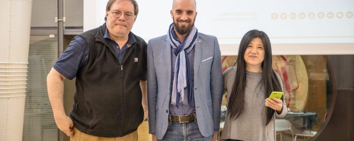 Julien Boulard (centre) with Ian D'Agata (left) and Stevie Kim (right)