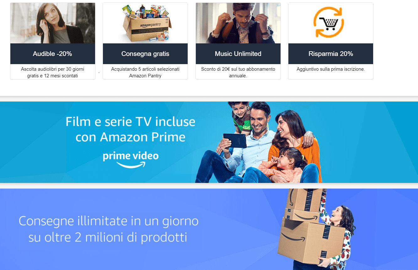 Benefici inclusi con Amazon Prime