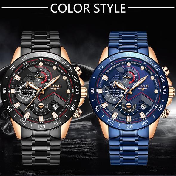 💥DISCOUNT CODE IN DESCRIPTION💥LIGE Men's watch ⌚ fashion quartz 💯 Exclusive top brand luxury stainless waterproof