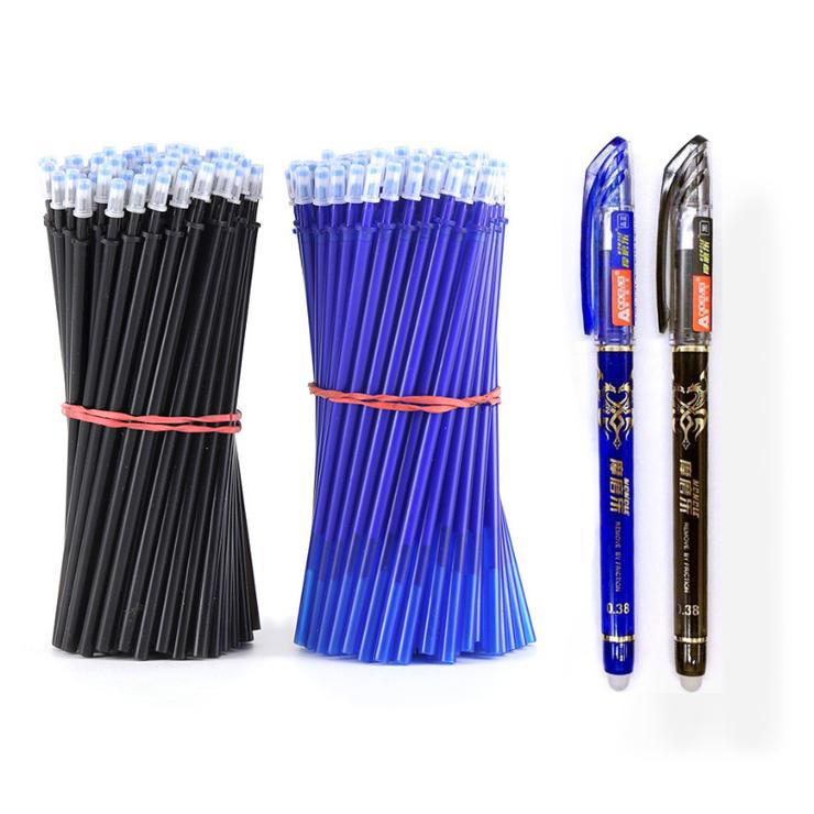 For your office 2+50Pcs/Set 0.5mm Blue Black 🖊️ Ink Gel Pen Erasable