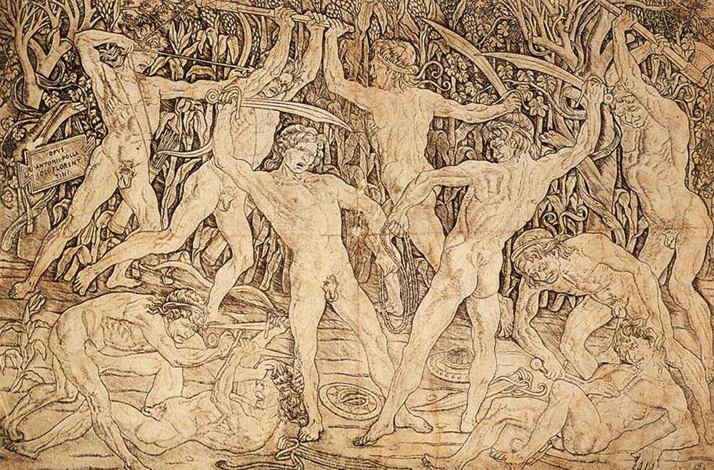 Antonio del Pollaiuolo (Firenze, ca. 1431-Roma 1498) Strijd van de naakte mensen, ets en burijn, ca. 1475, Gabinetto Disegni e Stampe degli Uffizi Firenze