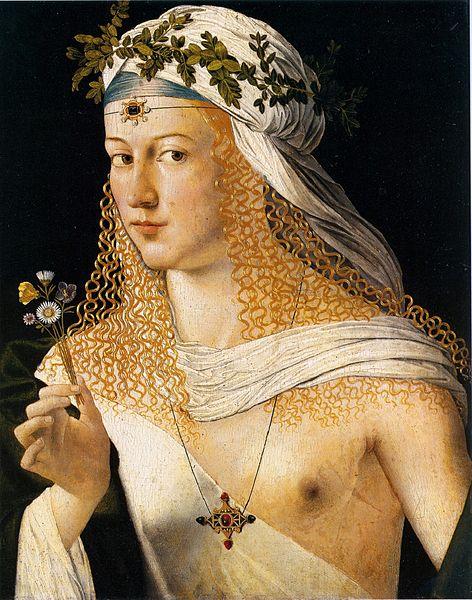 Portret van een vrouw, door Bartolomeo Veneto. Wordt door sommige wetenschappers benoemd als een portret van Lucrezia Borgia