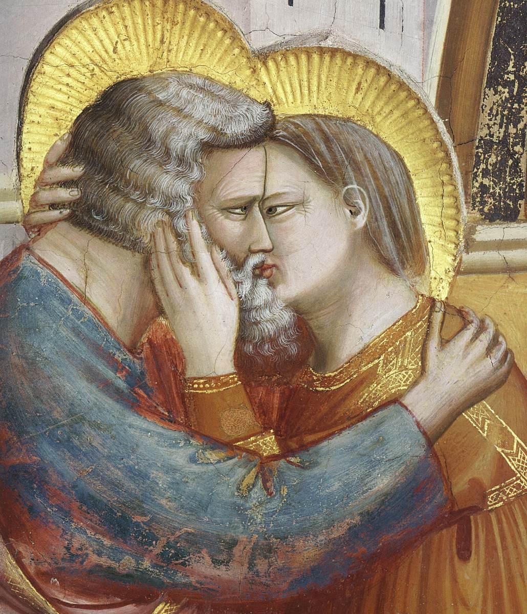 Giotto di Bondone, De ontmoeting bij de Gouden Poort (detail)a, Fresco, Cappella Scrovegni (Arenakapel), Padua