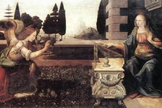 Leonardo da Vinci, De Annunciatie, Galleria degli Uffizi Firenze
