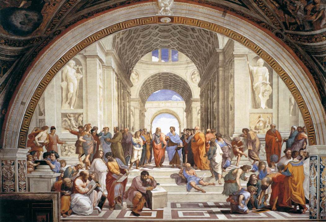 Rafael, De School van Athene, 1509, Stanza della Segnatura, Palazzi Pontifici, Vaticaan