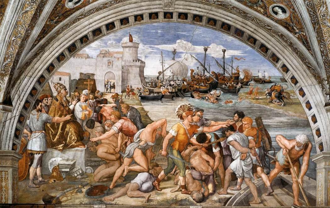 Rafael, De Slag bij Ostia, 1514-15, Stanza dell'Incendio di Borgo, Palazzi Pontifici, Vaticaan