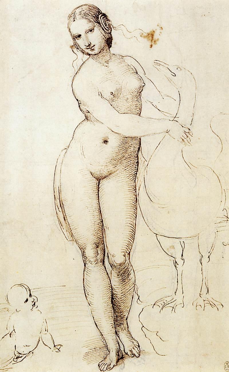 Rafael, Leda en de Zwaan, 1505-07, Pen en inkt over krijt, Royal Collection, Windsor.