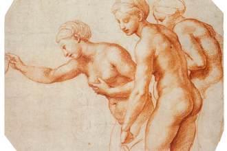 Rafael, Studie voor de Drie Gratiën, c. 1518, Rood krijt over stylus, Royal Collection, Windsor